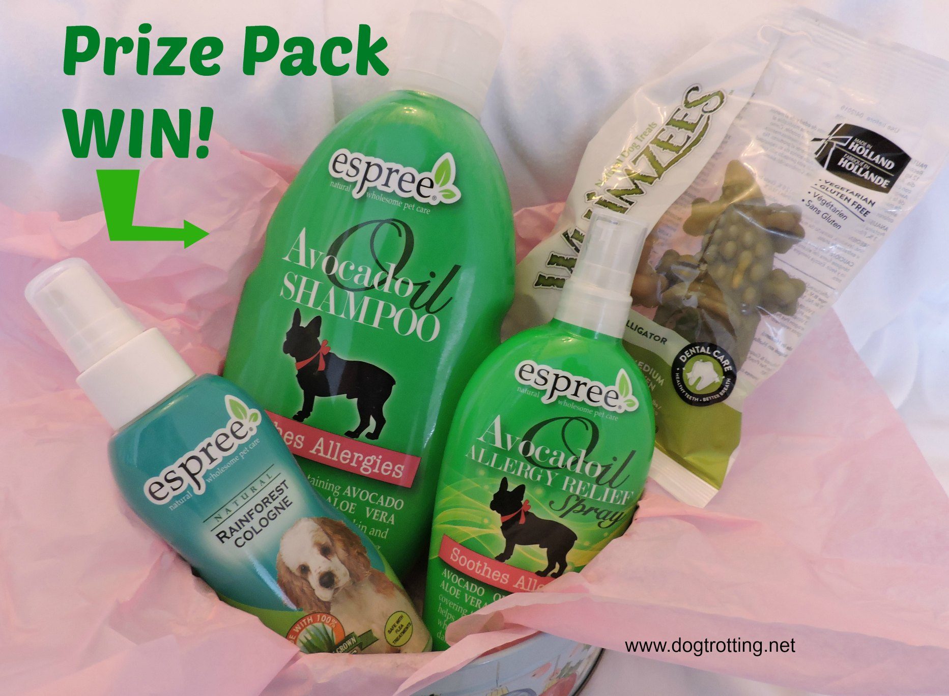 prize pack of Espree dog shampoo