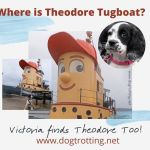A Tugboat designed with a face and red baseball cap to resemble Theodore Too Tugboat TV show character